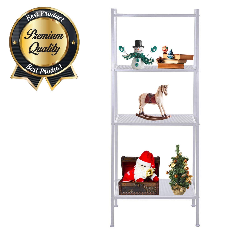 "Koval Inc. 4-Tier Metal Ladder Bookshelf Wire Shelving Kitchen Storage (White, 23-3/5""L x 14""W x 58""H)"