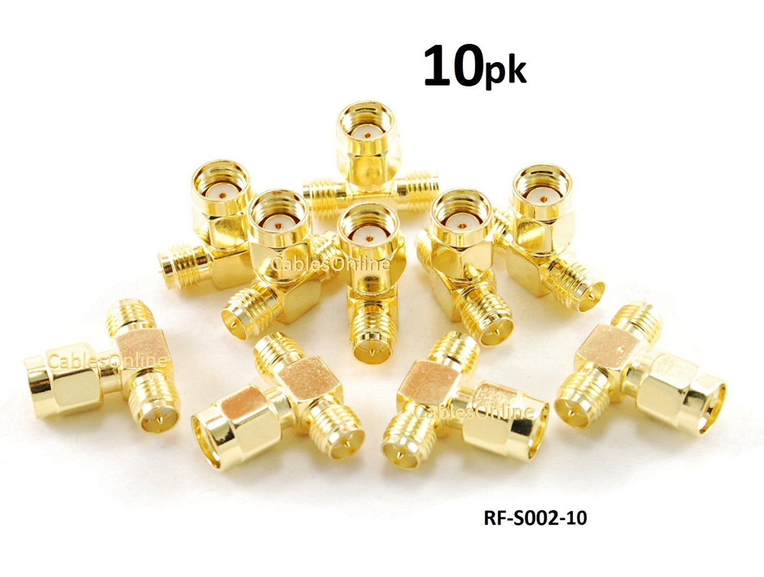 CablesOnline RP-SMA Jack-Plug-Jack 1 Male/2 Female RF Antenna T-Adapter (10 pack)(RF-S002-10)