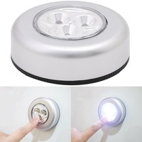 3 LED Car Home Wall Night Camping Light Touch Sensor Battery Push Powered Lamp