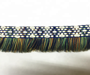 Beautiful Colourful Ethnic embroidery jacquard trim with green fringe