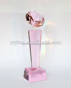 pink Optical Glass Classics Clear Crystal Diamond Trophy For Souvenir Gifts
