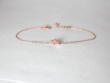Rose Gold Cross Bracelet First Communion Gift Jewelry Thin Chain