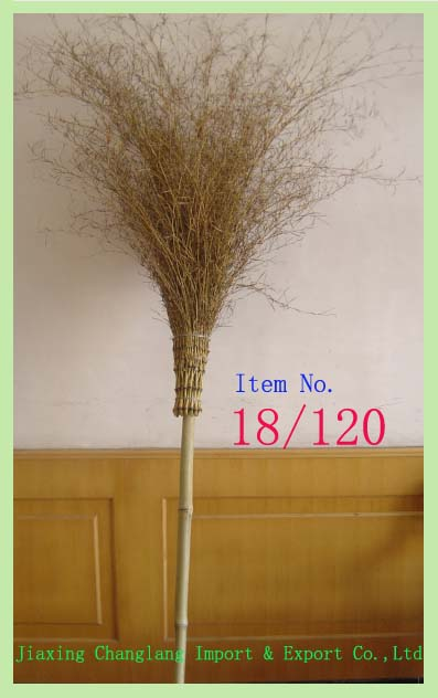 Yellow color Bamboo broom Natural color for garden or outdoor sweeping