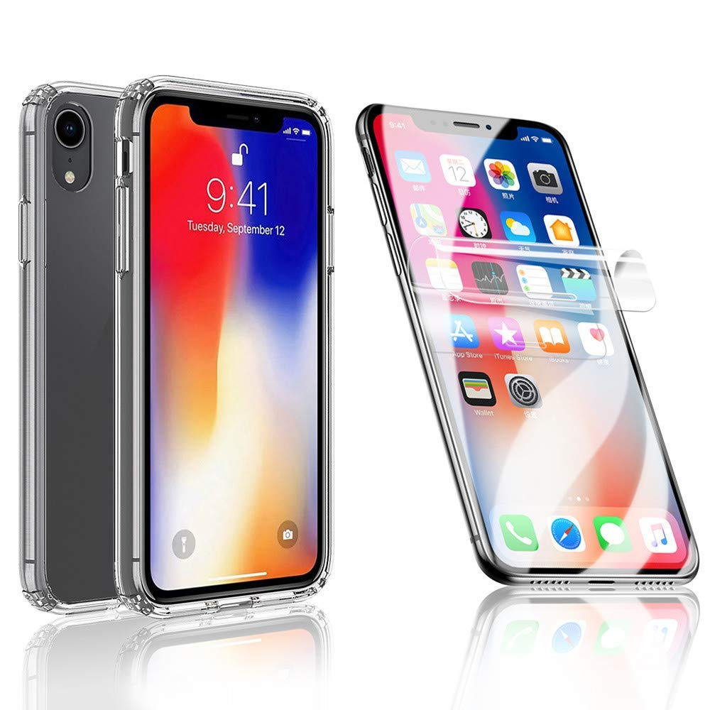 Fenebort Clear Slim TPU Case Cover + Soft Screen Protector Compatible iPhone XR/iPhone XS/iPhone XS Max
