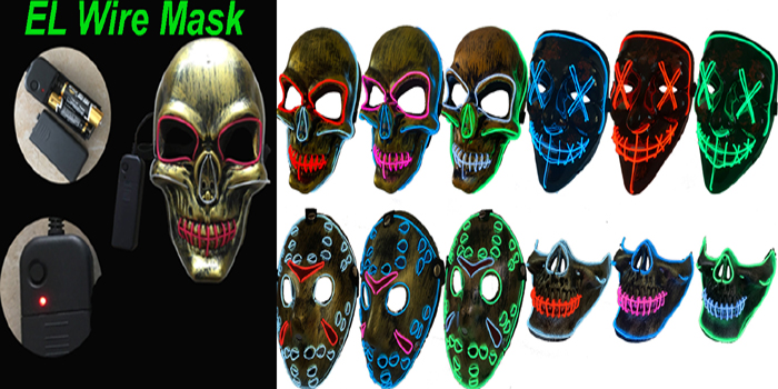 Sound Reactive LED Halloween Masks, Voice Control Mask for Festival,Party,Halloween,Dance Ball,Cosplay