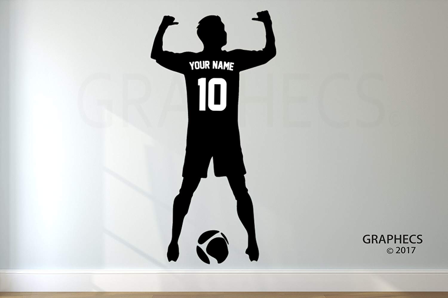 Personalized Custom Soccer Wall Decal - Choose your NAME & NUMBERS Custom Player Jerseys Vinyl Decal Sticker Decor Kids Bedroom