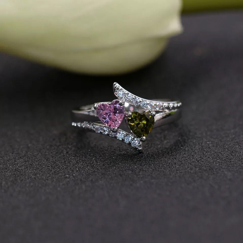 Zircon Design Engagement Wedding Two Heart Double Main Stone Ring