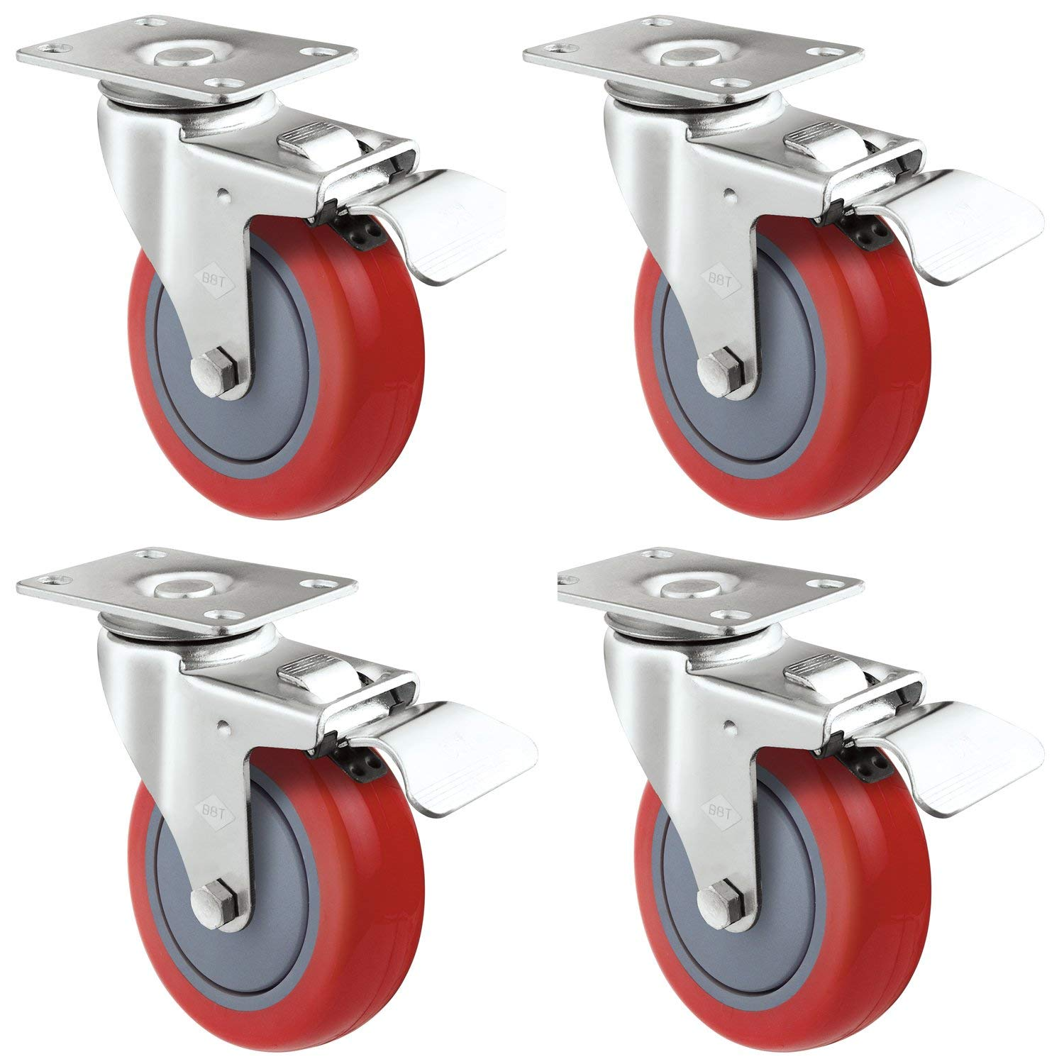 Hakka 4 Pack Swivel Caster Wheels Polyurethane Base with Top Plate & Bearing Heavy Duty 705LB (3 Inch With Brake)