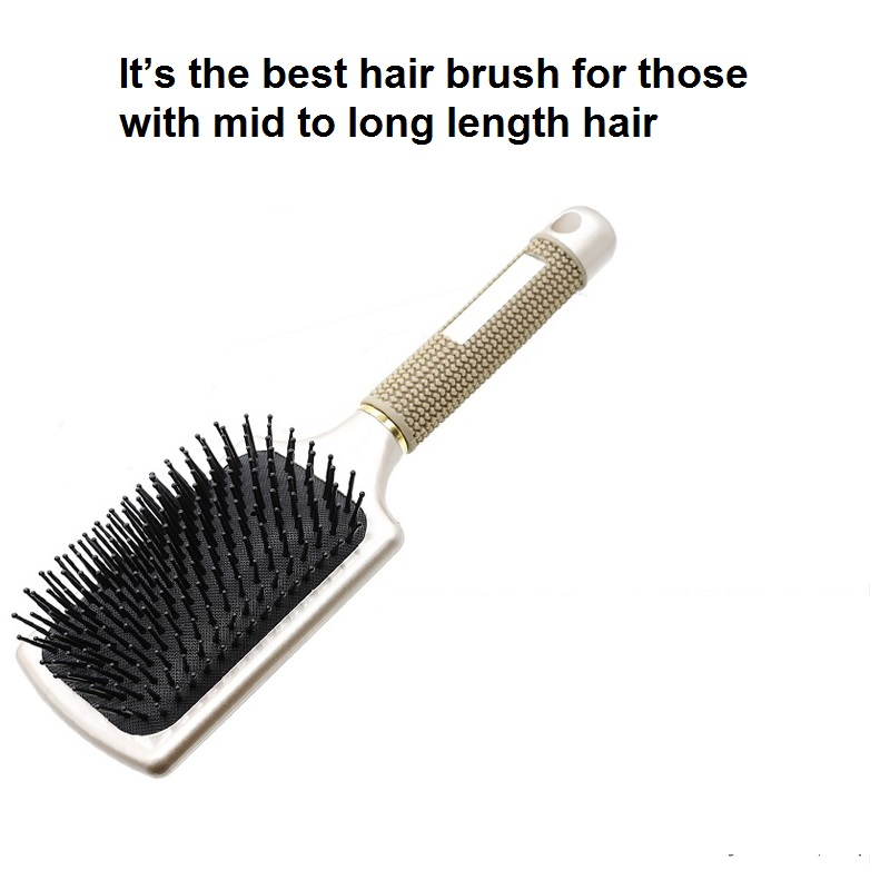 Shenzhen new cushion rose gold paddle detangling hair brush with nylon pins