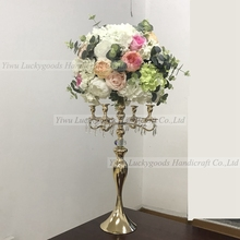 LFB952 elegant wedding silk flower arrangement centerpiece with gold flower stand