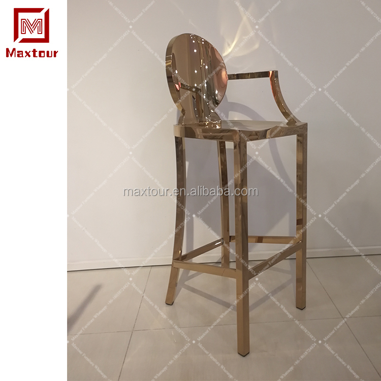 Rose golden Silver stainless steel base bar stool high chair