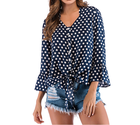 2019 New Arrivals Ladies Blouses Polka Dot V-neck Long Sleeve Plus Size Tunic Women Tops Shirts
