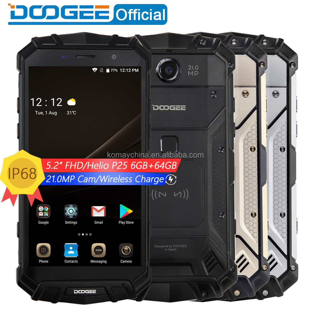 Original 6GB+64GB DOOGEE S60 Triple Proofing cellphone 5580mAh Battery 5.2 inch Android 7.0 4G Waterproof Unlocked Mobile