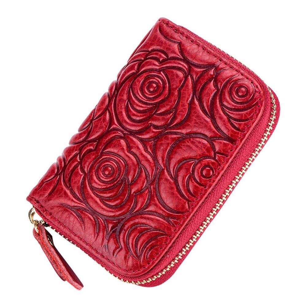 MuLier Rose Pattern Card Holder Wallets for Women RFID Blocking Credit Card Holder Wallet - Made from Primely Genuine Leather
