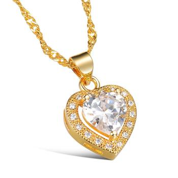 Saudi Arabia Gold Jewelry Plated 18K Real Gold Jewellery Fashion Pendant Heart Necklace