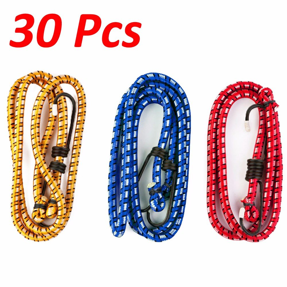 """Wideskall 30 Pieces 30"""" inch Extra Long Bungee Cords with Hooks, Assorted Color"""