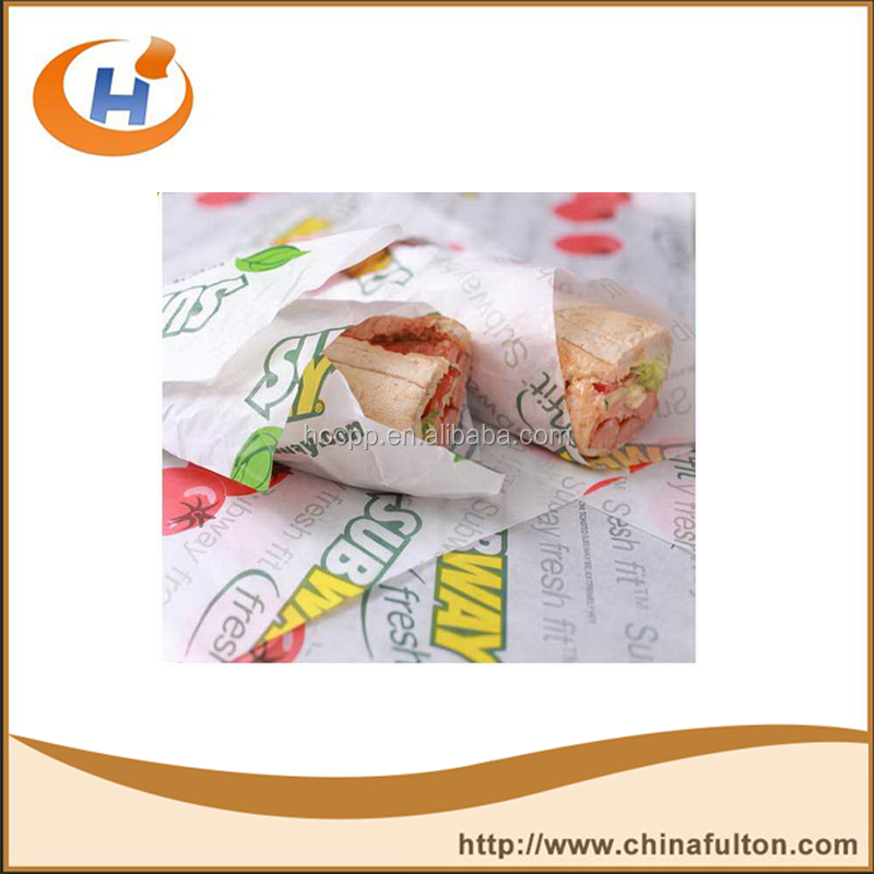 Fulton HP39 bleached coloured burger wrapping paper wax paper