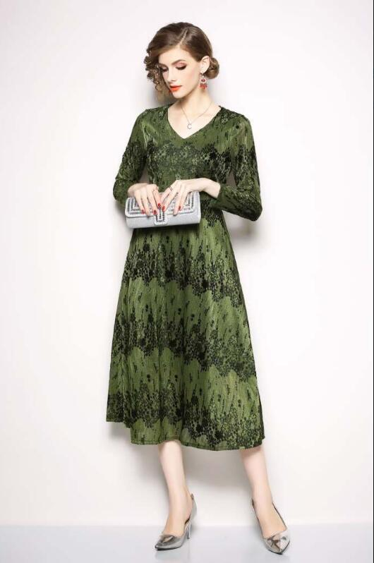 New Arrival Fashion Dress Corduroy Long Sleeve V-neck Jacquard Tea-Length Women Party Dress
