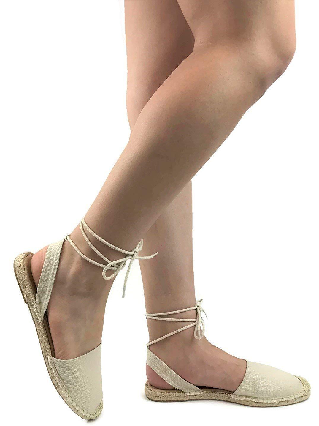 f03ec9e61ca8 Get Quotations · Soda Womens Ankle Wrap Espadrille Flat D Orsay Sandal