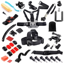 Gopro Hero Accessories Set Helmet Harness Chest Belt Head Mount Strap Monopod Go pro hero3 4  3+ Sj4000 xiaomi yi Black Kit GS43