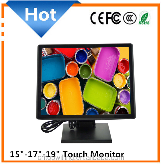 Hot sale 15 17 19 inch screen size and resistive type 5 wire touch screen monitor 17 inch pos