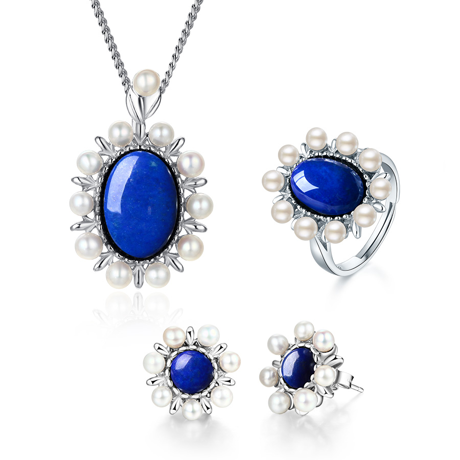 Lapis lazuli 925 sterling silver with freshwater pearl jewelry set