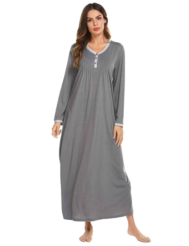 9883499cc6 Get Quotations · Adoeve Henley Full Length Sleep Dress Women s Cotton Knit  Long Sleeve Nightgown S-XXL