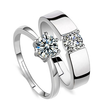 Lovers Adjustable Crystal Rings Set S925 pure silver Love Wedding Couple Open Ring Party Engagement Charm Jewelry Women Men Hot
