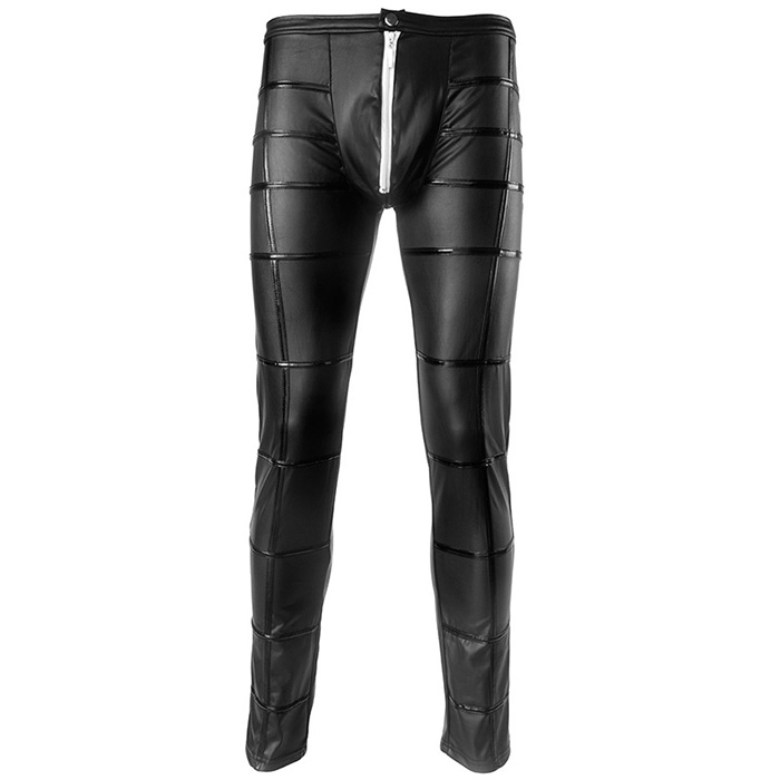 Wetlook Black Mens Faux Leather Zipper Crotch Tight Pants Legging Trousers Clubwear Gothic Punk Pants for Men Slim Party Clothes