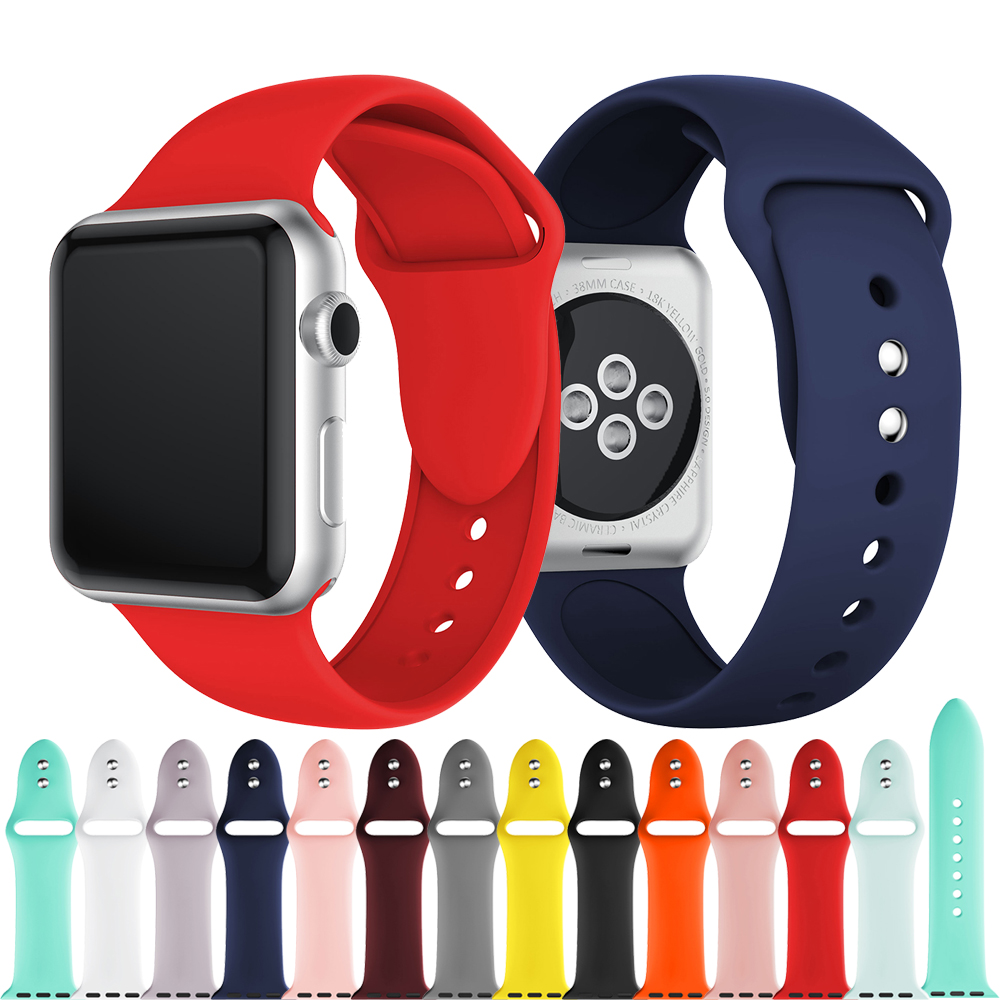 Sport Soft Silicone Rubber Watch Band For Apple Watch Silicon Strap Wristband 38/42mm