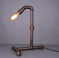 Vintage Antique Project Water Pipe Tube Iron Rust Desk Table Lamp