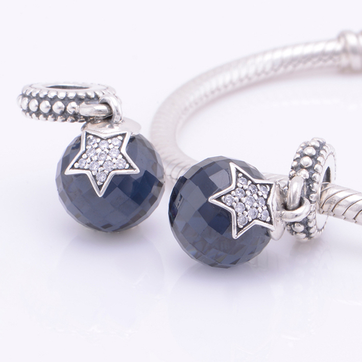 8720aa34f Get Quotations · Midnight blue CZ with pave star Dangle Charms 925 Sterling  Silver DIY Jewelry Fits for European