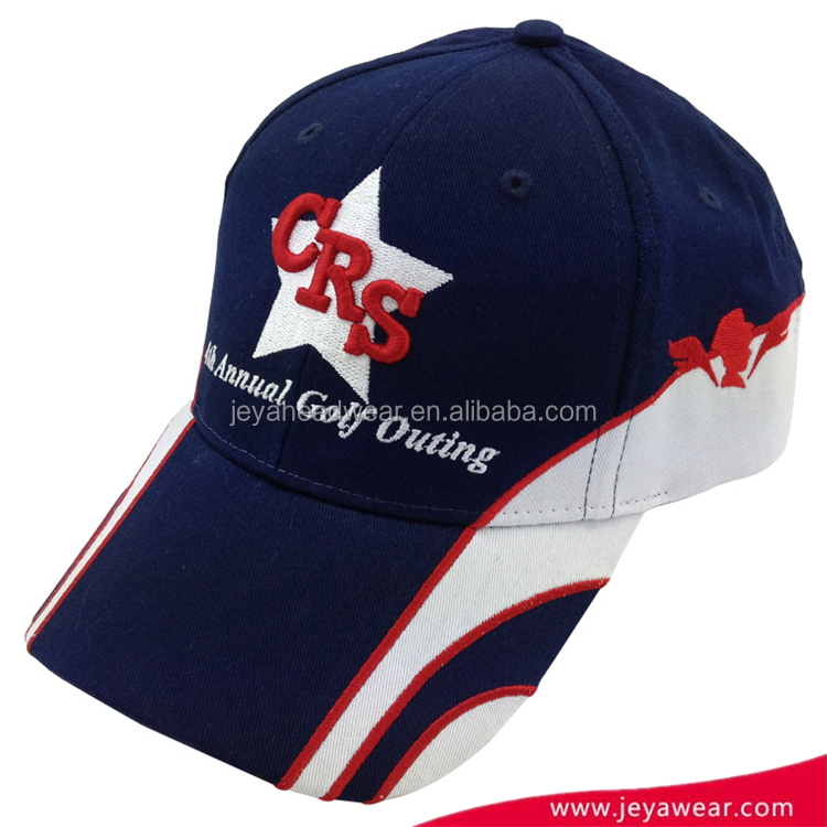 Competitive Factory Price Navy And White Embroidery Baseball Cap For Unisex Racing Trim Cap