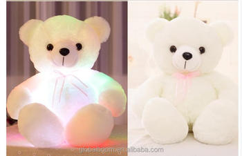 Led Light Up Bow Tie Teddy Bear Pillow Plush Toy Soft Auto Color ...