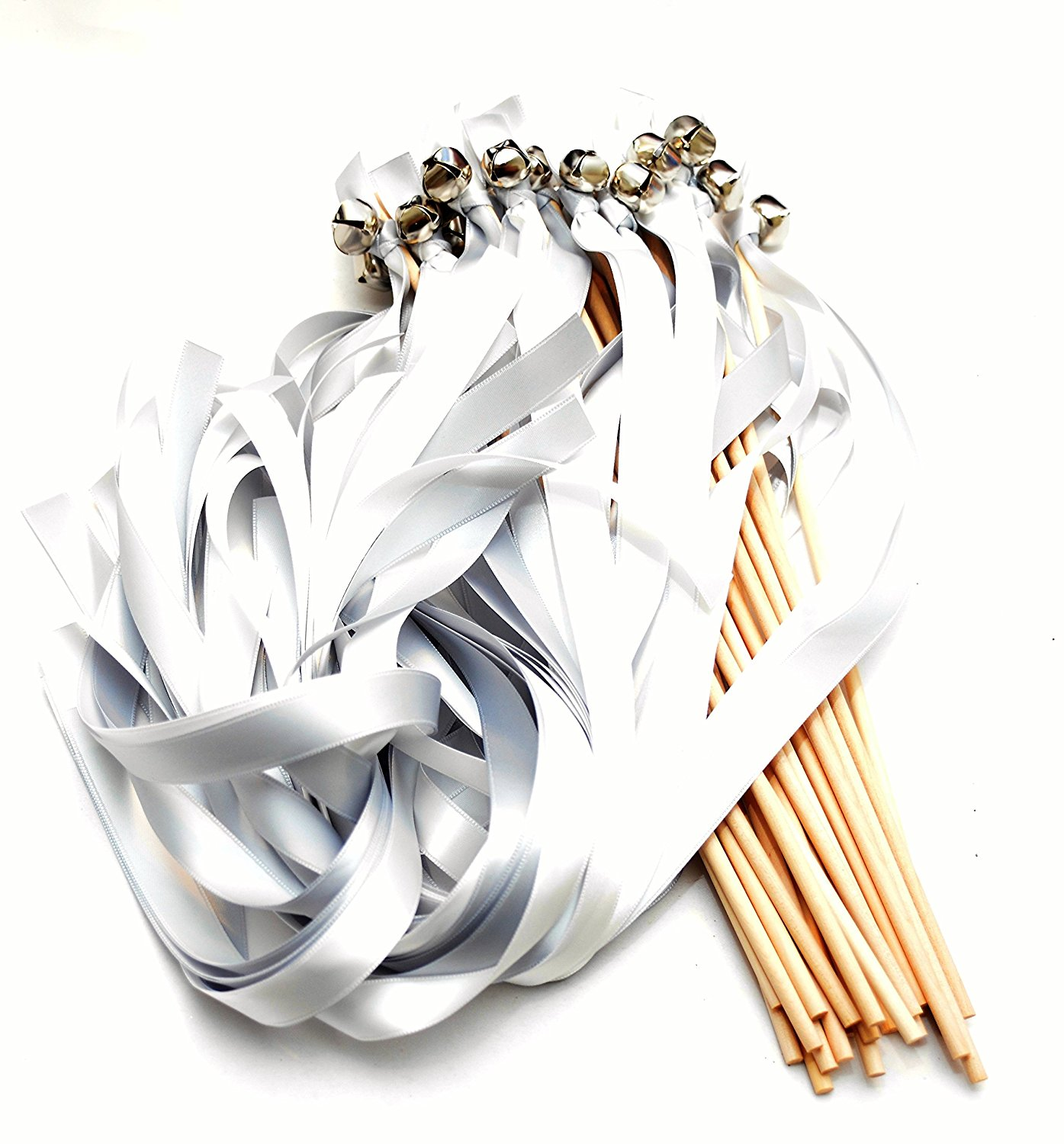 Get Quotations · 25 Silver Diamond White Ribbon Bell Wands Wavers Bachlorette: Silver Bells Wedding Ring At Websimilar.org