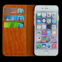 Factory Price Leather Wallet Phone Case with Card Holder Kickstand Protective Folio Flip Cover for iPohne 6