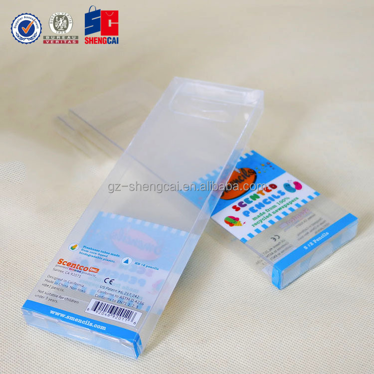 Custom folding Clear PVC/PET plastic scented pencil packing box