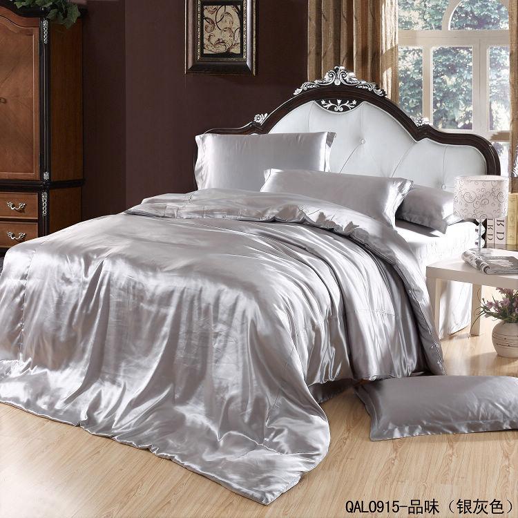 buy silver satin comforter bedding set king size queen quilt duvet cover bed. Black Bedroom Furniture Sets. Home Design Ideas