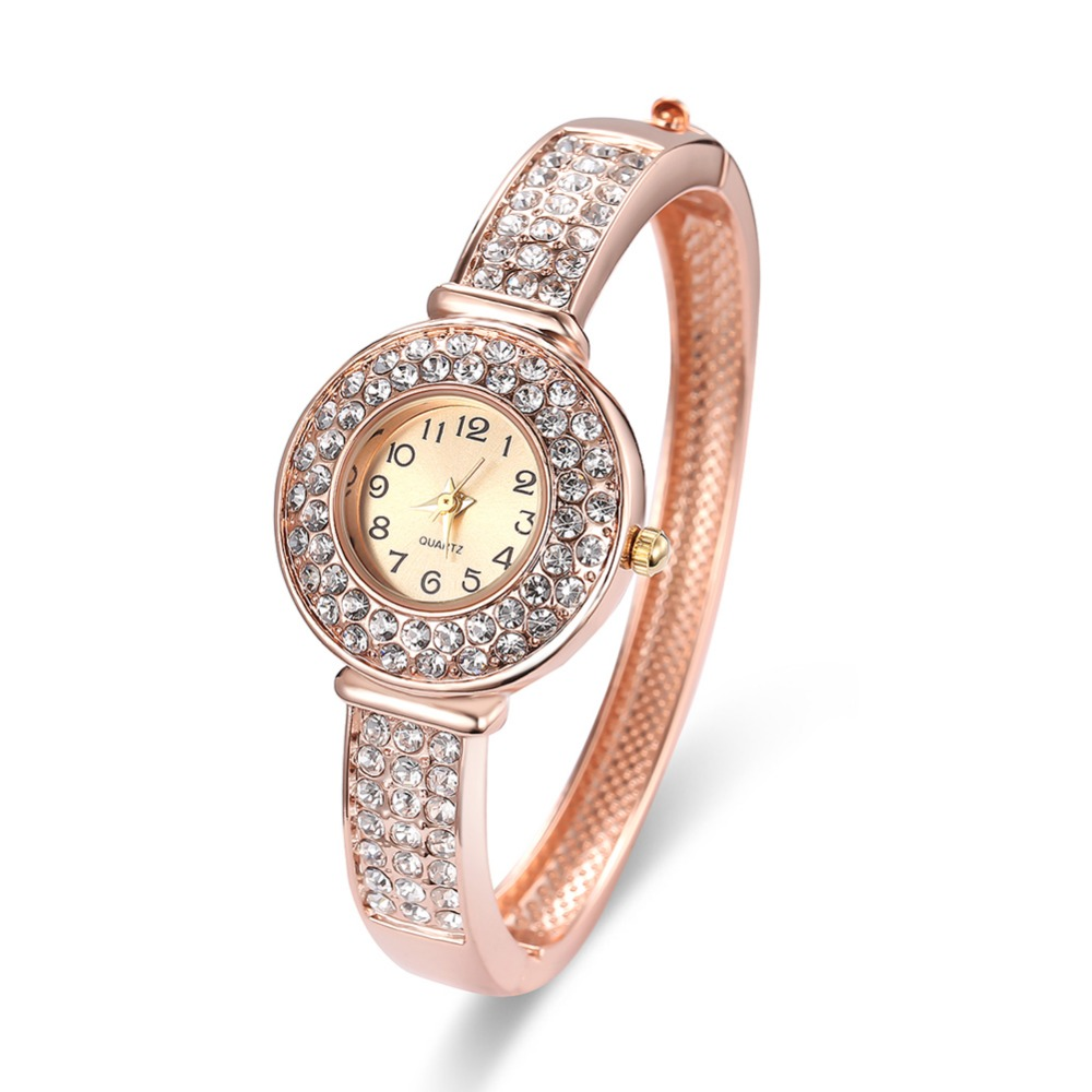 Fashion bangle watch for small wrist wholesale rose gold plated thin bangle with cz stone fashion wrist watches
