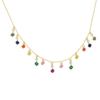 2019 spring new arrived rainbow cz drop charm geometric fashion chocker necklace