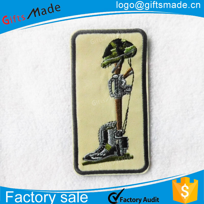 Wholesale custom woven embroidery heat press patches for clothing