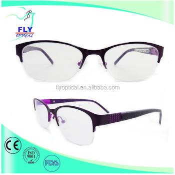 Popular Square Half-rim Optical Frames Stainless Steel Frames For ...