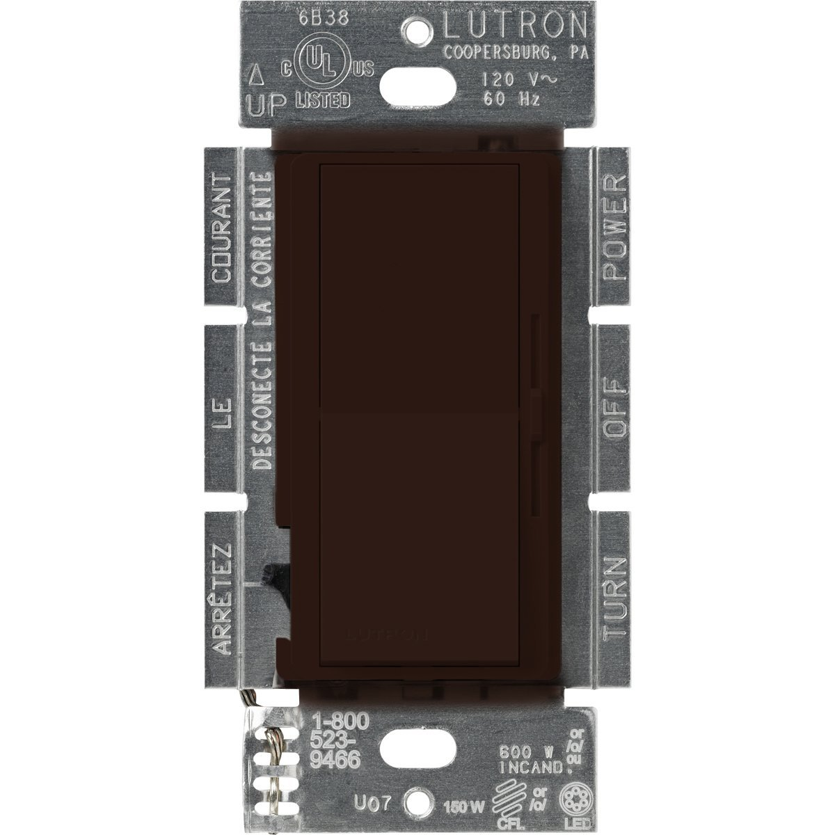 Lutron DVCL-153P-BR Diva Dimmable CFL/LED Dimmer, Brown