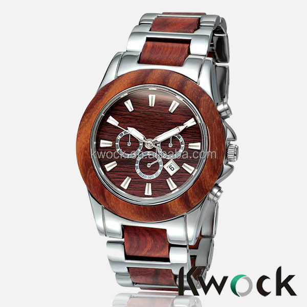 BEWELL Rosewood and steel watch Hot sale Japan movement 3ATM water resistance WOOD WACTH