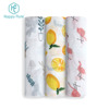 Baby Muslin Swaddle Blankets custom print bamboo cotton baby wrap 120cm 4 in pack box