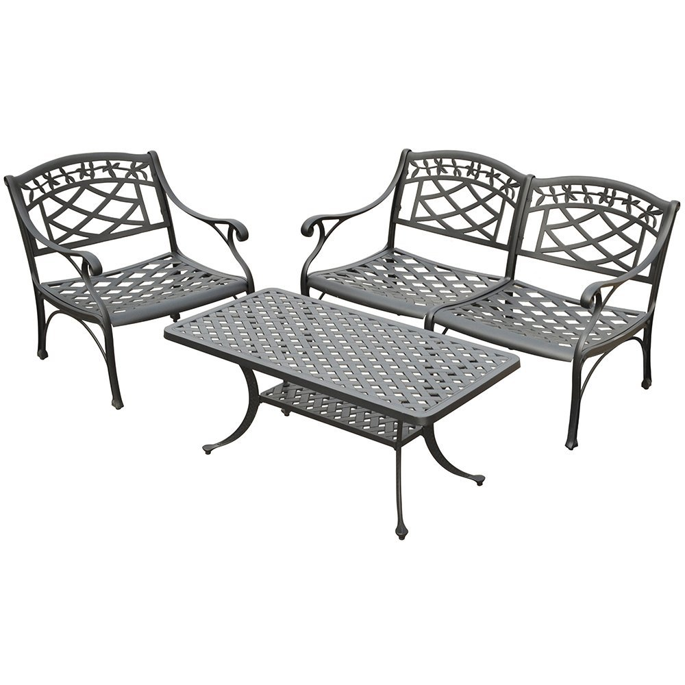 Crosley Furniture Sedona 3-Piece Solid-Cast Aluminum Outdoor Conversation Set with Table, Loveseat, and Club Chair - Black