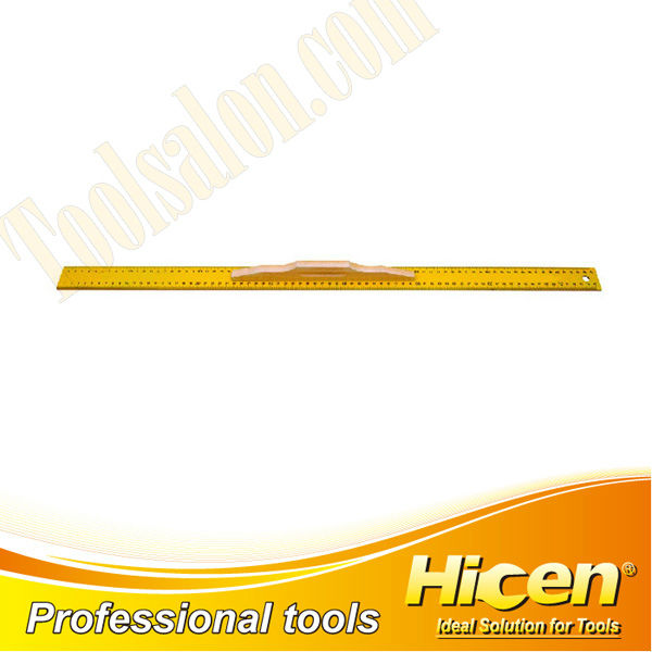 Yellow Paint Stainless Steel Straightedge Ruler With Wooden Handle,Stainless Steel Straight Ruler