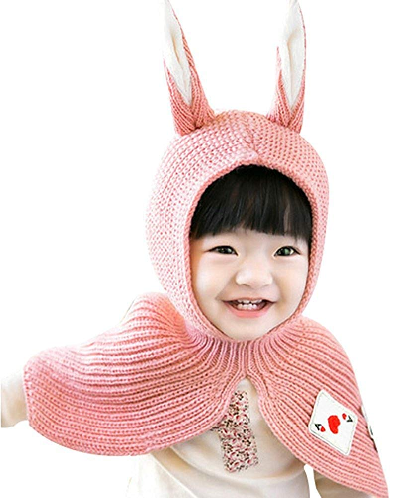 3572ffd020a Get Quotations · Baby s Kids Winter Warm Hood Knit Scarf Hats Skull Caps  with Rabbit Ear Girls Boys