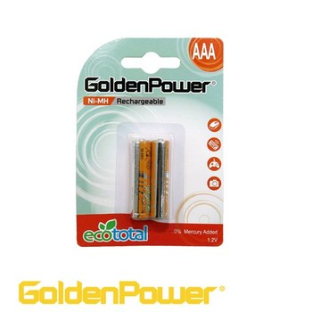 Golden Power Low Self Discharge NiMh Rechargeable Battery HR03 AAA 1000mAh 2pk