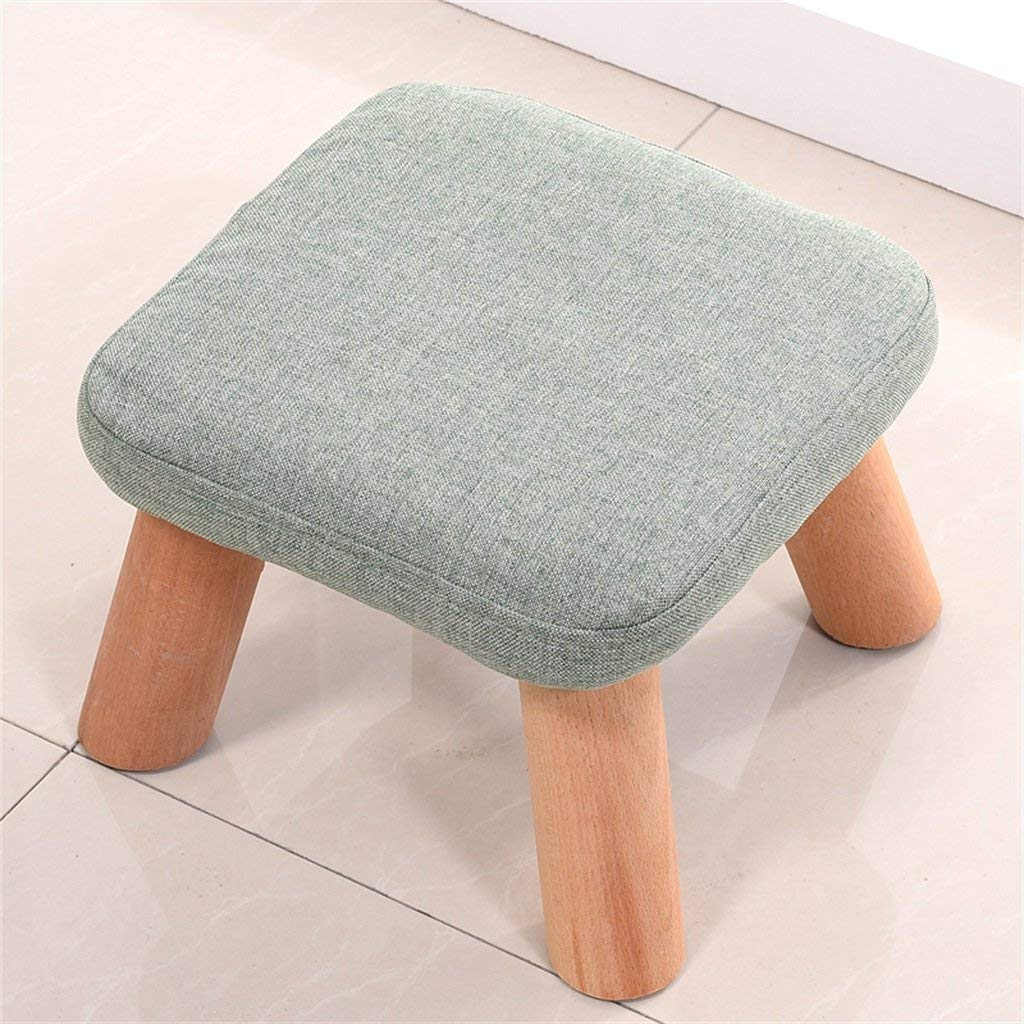 LQQGXL European chair Solid wood replacement shoe stool foot stool test shoe stool round padded footstool 4 wooden legs padded stool cloth cover (Color : # 4)